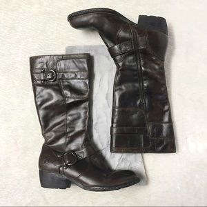 Born Leather Knee High Pointy toe Heeled Boot Sz 9